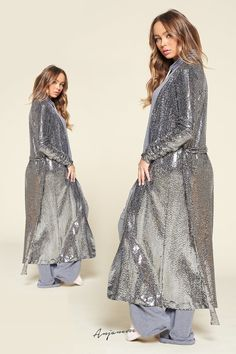 Sequin Cardigan, Wide-brim Hat, Sequin Fabric, Silver Sequin, Flare Jeans, Nice Dresses, Sequins, Tees, Long Sleeve