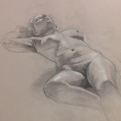 Figure study by Stephen Cefalo. Figure Painting, Painting & Drawing, Figure Sketching, Figure Drawings, Anatomy Drawing, Art Graphique, Art Studies, Drawing Techniques, Gravure