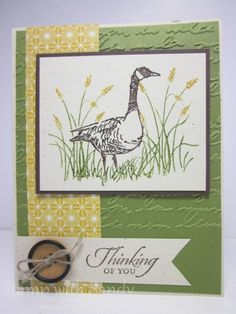 Wetlands Thinking of You - Stamp Sets: Wetlands Card Stock: Naturals Ivory, Old Olive, Chocolate Chip Designer Series Paper: Sweater Weather Ink Pads: Chocolate Chip Markers: Old Olive, Chocolate Chip, Crushed Curry Tools: Big Shot, Pretty Print Embossing Folder Accessories: Linen Thread, Naturals Designer Buttons