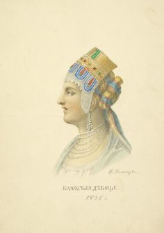 Maiden from the town of Borovsk (Kaluga Province, Russia) in traditional headdress. Illustration by Fedor Solntsev, 1835 Russian Beauty, Russian Fashion, Shaman Woman, Film Dance, Bridal Headdress, Russian Culture, Folk Clothing, Russian Painting, Russian Folk
