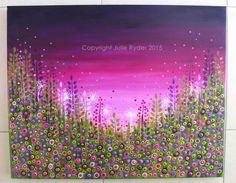 Flower Meadow 30 x 24 inch Purples Mauves by JulieRyderMixedMedia