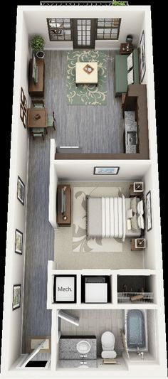You'll need to squeeze a lot into your tiny house bathroom. See ideas and recommendations for toilets, hot water, and ventilation. Container Pool, Container Home Plans, Container House Design, Building A Container Home, Studio Floor Plans, House Floor Plans, Contener House, Long House, Shipping Container Homes Cost