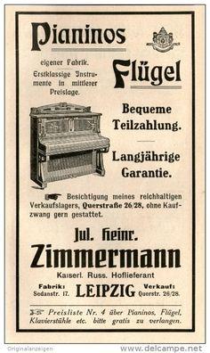 Original-Werbung/Inserat/ Anzeige 1910 : PIANINOS/FLÜGEL ZIMMERMANN LEIPZIG  ca. 90 x 160 mm