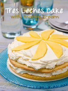 Tres Leches Cake with Mango Cream   ASpicyPerspective.com #cincodemayo