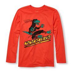 s Boys Long Sleeve 'Ninjasaurus' Graphic Tee - Orange T-Shirt - The Children's Place