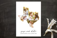 State shaped Save the Dates from Minted [Texas Love Location Save the Date Cards by Heather B at minted.com]