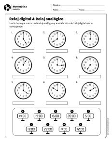 Reloj digital & Reloj analógico Spanish Class, Teaching Spanish, English Activities, Telling Time, Elementary Education, Maths, Homework, Casseroles, Montessori