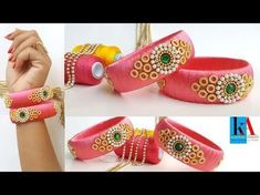 In this video we have shown the making of silk thread bridal bangles step by step which is specially used for bridal wear and it has a rick look with elegent. Silk Thread Earrings Designs, Silk Thread Bangles Design, Silk Thread Necklace, Silk Bangles, Beaded Necklace Patterns, Bridal Bangles, Thread Jewellery, Jewelry Patterns, Handmade Jewellery