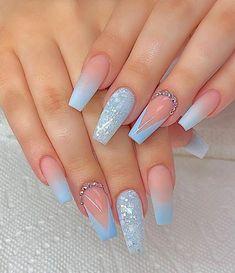 Blue Acrylic Nails, Summer Acrylic Nails, Summer Nails, Coffin Acrylics, Coffin Nails Long, Long Nails, Short Nails, Light Blue Nails, Cute Acrylic Nail Designs