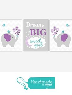 Baby Girl Nursery Wall Art Purple Teal Aqua Elephant Dream Big Sweet Girl Safari Jungle Zoo Animals Baby Nursery Decor SET OF 3 UNFRAMED PRINTS from Dezignerheart Designs https://www.amazon.com/dp/B01IYN2XUO/ref=hnd_sw_r_pi_dp_-W4Nxb8NYVRCT #handmadeatamazon