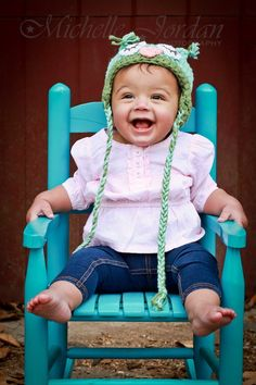 MICHELLE JORDAN Photography » 1 year portraits - Baby Girl - Turquoise Chair