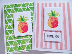 Preppy Note Cards, Set of 2 Pineapple Thank You Cards, Lilly Pullitzer Inspired Thank You Cards, Birthday Cards Pineapple Notecards - Note Cards, Thank You Cards, Color Card, Preppy, Card Stock, Birthday Cards, Card Ideas, Pineapple, Notes