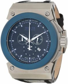 Invicta Men's 10955 Akula Reserve Chronograph Black Textured Dial Watch Invicta. $244.50. Water-resistant to 100 M (330 feet). Swiss quartz movement. Black textured dial with white hands and blue hour markers; luminous; blue ion-plated stainless steel bezel. Flame-fusion crystal; stainless steel case; black leather strap. Chronograph functions with 60 second, 30 minute and 1/10 second subdials; date function. Save 85% Off!