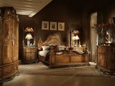 Image detail for -Luxurious Bedrooms From Aico Furniture Bedroom Sets, Dream Bedroom, Bedroom Decor, Master Bedroom, Dark Wood Bedroom Furniture, Tuscany Homes, Luxurious Bedrooms, Luxury Bedrooms, House Rooms