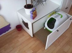 Katzenklo-Kommode Neue Wohnung - katzen - - Katzenklo-Kommode Neue Wohnung – katzen Kratzbaum selber bauen Litter box chest of drawers New apartment Pet Furniture, Apartment Furniture, Cat Apartment, Furniture Dolly, Furniture Outlet, Cheap Furniture, Furniture Plans, Cat Hacks, Cat Room