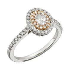 Diamond Halo Engagement Ring in 14k White and Rose Gold (3/4 ct. T.W.)