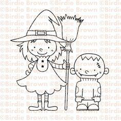 Digital stamp   Halloween Sister & Brother by BirdieBrown on Etsy, $2.50