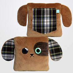 Baxter's Back Pocket.it carries your cell phone, glasses, TV remote, notebook.the possibilities are endless! Coming soon to Kickstarter! Sewing Projects For Kids, Sewing For Kids, Baby Sewing, Softies, Plushies, Tooth Fairy Pillow, Animal Pillows, Dog Lover Gifts, Burp Cloths