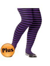 Plus Size Purple and Black Striped Tights - Party City