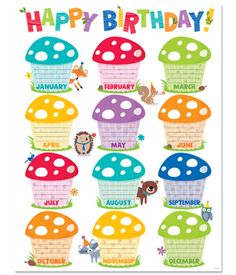 Whimsical toadstools and woodland animals give this Woodland Friends Birthday chart a playful look.