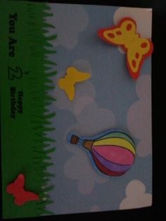 The outside of a birthday card for a two year old.