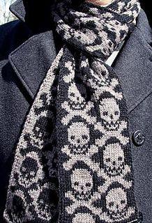Ravelry: Neck Bones Scarf pattern by Camille Chang Crochet Skull, Knit Crochet, Neck Bones, Mode Crochet, Skull Scarf, Fair Isle Knitting, How To Purl Knit, Knit Cowl, Knit Picks