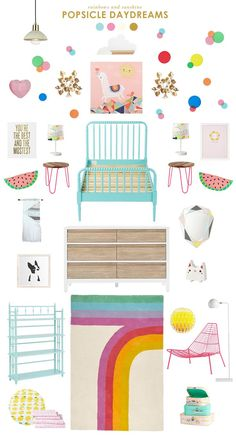 Popsicle Dreams Inspired Kids Room is part of Kids bedroom - Bring back the magic of the with this Popsicle dreams inspired kids room design by Joni of Lay Baby Lay Big Girl Bedrooms, Little Girl Rooms, Girls Bedroom, Bedroom Ideas, Cozy Bedroom, Baby Room Design, Inspiration For Kids, Kids Furniture, Room Decor