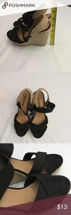 Soda wedge heel Used soda wedge heel, still great condition make me an awesome offer 😁😉. Soda Shoes Wedges
