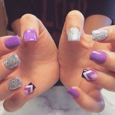 Cute Purple Nails with design^