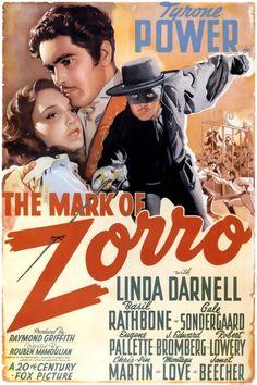 The Mark Of Zorro vintage movie poster