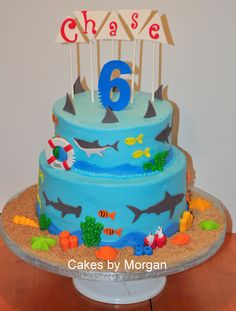 Shark Themed Cake iced in buttercream with handmade fondant pieces.
