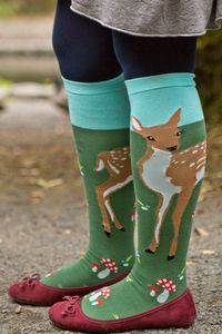 Fawn Memories Knee High - You'll have to forgive us, we fawn over puns, they're so deer to us! But even if your heart is hardened to punny play, it can't resist the sweet little critter nor the lovely meadow of these knee highs.
