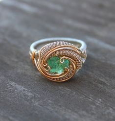 wire wrap Green Garnet silver and gold fall by TendaiDesigns