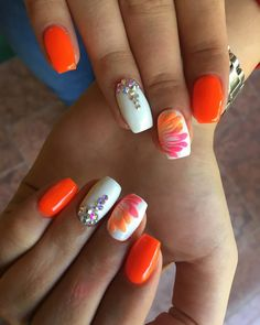 Orange Summer Nails With Rhinestone