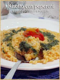 Risotto con peperoni e pesto di basilico e nocciole (Risotto with peppers and basil pesto and hazelnuts) #rice