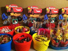 Disney's Cars themed birthday centerpieces and candy buffet