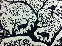 unusual combinations (tree w/ ruminants) Thomas Paul Scandinavian Modern Folk Art Nature Silouhette Graphic Print Illusration Squirrel Deer Wildlife Cotton Percale Heavy Fabric Noir. Kirigami, Skandinavisch Modern, See Tattoo, Scandinavian Folk Art, Scandinavian Christmas, Art Populaire, Fabric Decor, Deer Fabric, Drapery Fabric