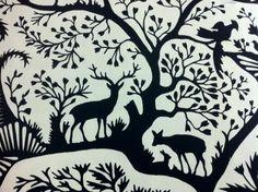 Thomas Paul Scandinavian Modern Folk Art Nature Silouhette Graphic Print Illusration Squirrel Deer Wildlife Cotton Percale Heavy Fabric Noir...