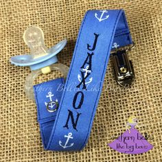 Your little man won't loose his paci with this stylish monogrammed pacifier clip in an adorable anchor pattern!