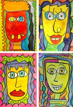 Super fun watercolor portraits inspired by artist James Rizzi