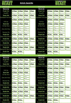Printable Body Beast Schedule  Body Beast Workout Schedule And Beast