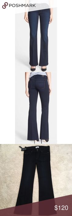PAIGE Hidden Hills High-Rise Boot Jeans 30P NWT Subtly faded dark-rinse jeans in a flattering bootcut shape are perfectly proportioned to fit a petite figure. Using the latest in performance-fiber technology, TRANSCEND denim redefines luxury, recovery & comfort with a fabrication that provides a flawless fit without stretching out. So soft and comfy!! Size 30=10. Petite sizes best fit women 5'4'' and under. Features zip fly with two button closure. Five pocket style. 54% rayon 23% cotton 22%…