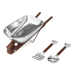 Wheelbarrow Salad Bowl With Wooden Utensils