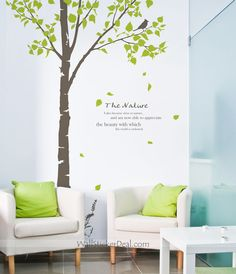 WALL DECAL TREE   wall sticker room bedroom living room office color dark gray trees and ...