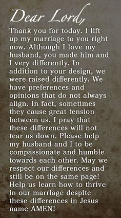 Prayer Of The Day – Preferences And Opinions --- Dear Heavenly Father, Thank you for today. I lift up my marriage to you right now. Although I love my husband, you made him and I very differently. In addition to your design, we were raised differently. We have preferences and opinions that do not … Read More Here http://unveiledwife.com/prayer-of-the-day-preferences-and-opinions/ - Marriage, Love