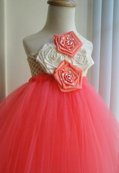 flower girl tutu dress in coral,ivory and lace on Wanelo