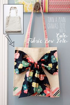 Turn a Canvas Tote into a Cute Fabric Bow Tote - simple tutorial on { lilluna.com }