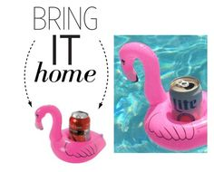 """Bring It Home: Floating Flamingo Drink Holster"" by polyvore-editorial ❤ liked on Polyvore featuring interior, interiors, interior design, home, home decor, interior decorating and bringithome"