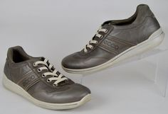 ECCO Women's Shoes Size 40 Solid Gray Leather Lace Up Fashion Sneaker US  9-9.5