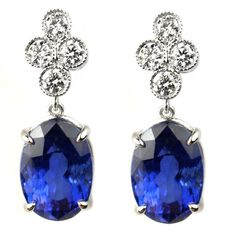 Diamond and Sapphire Earrings | From a unique collection of vintage drop earrings at http://www.1stdibs.com/jewelry/earrings/drop-earrings/